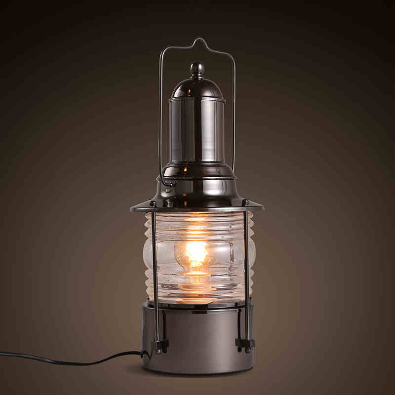 Industrial Coffee Table Lamp: American Country Industrial Vintage Loft Wrought Iron