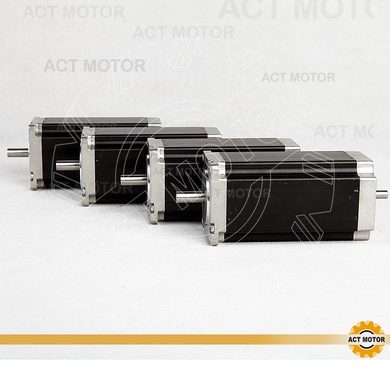 ACT Motor 4PCS Nema23 Stepper Motor 23HS2442B Dual Shaft 4-Lead 425oz-in 112mm 4.2A Bipolar CE ISO ROHS Engraving Machine Laser