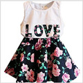 2016 Brand Summer Girls Clothing Set Sport Letter Love Flower Vest+Short Skirt Girls School Princess Perform Clothing Sets