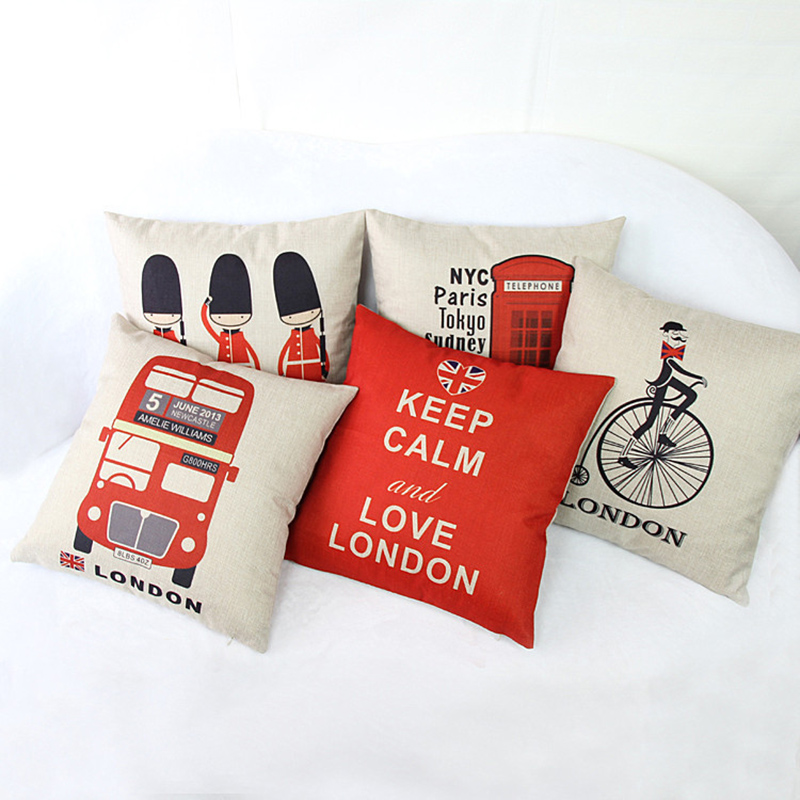 London Cushion Cover Red British Vintage Pattern Decorative Sofa ...