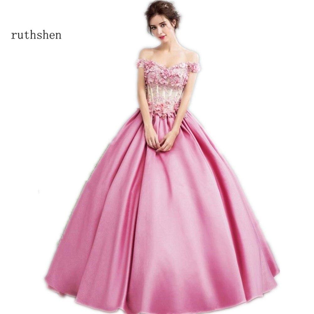 Ruthshen Rosa vestido de fiesta bata de pelota fuera del hombro 3D ...