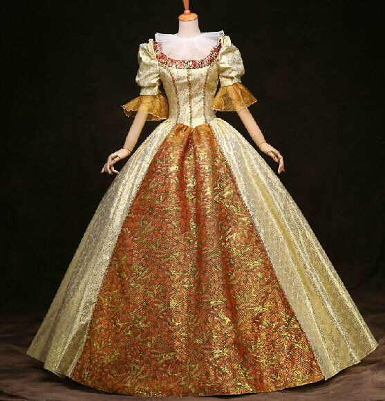 100 Real Photos Luxury Venice Carnival Gown Golden Floral