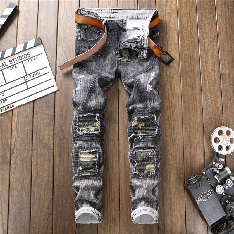 Mens Straight Gray Jeans Moto Biker Retro Denim Jeans New Fashion Men Spring Elastic Holes Jeans Men patch Jean Pants Size 38