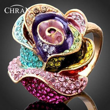 Chran Fashion Rose Design Crystal Engagement Rings for Women Elegant Enamel Costume Jewelry Ring Ladies Gifts