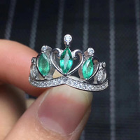 Fashion grace crown Natural green emerald Ring 925 Sterling Silver Natural Gemstone Ring Women's party fine gift Ring Jewelry