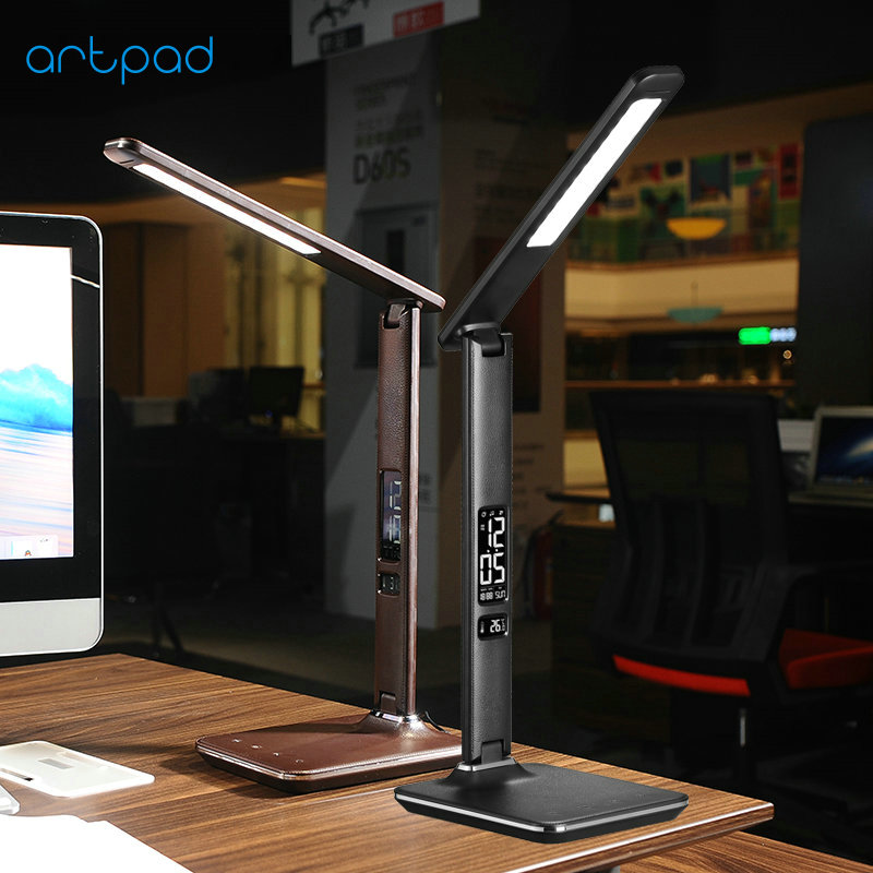 Artpad Modern Leather 8W Dimable Office Desktop Light Led Foldable Table Lamp with Alarm Clock for Business Work Children Gift