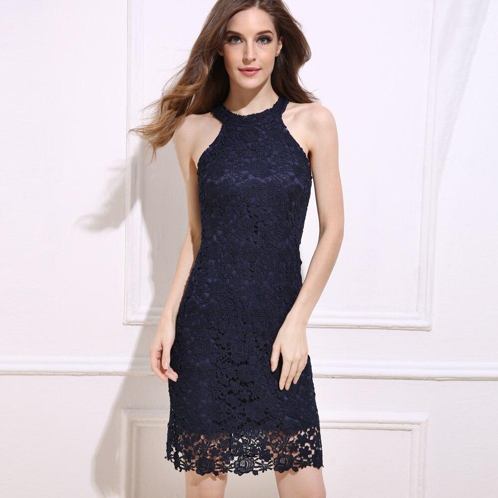 BEFORW Mode Vintage Frauen Sommerkleid Weiß Blau Sexy Spitze ...