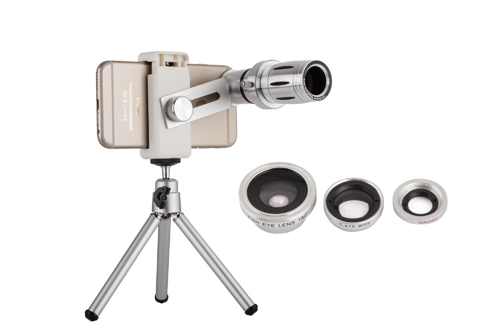 Universal 12X Zoom Mobile Phone Telescope Lens 4in1 lens Telephoto External Smartphone Camera Lens for iPhone Sumsung HTC Huawei 9