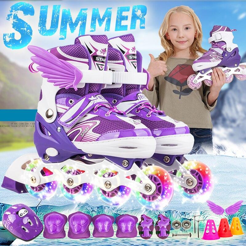 Nouveaux enfants enfants patin à roues alignées taille réglable clignotant chaussures de patinage à roulettes fille garçon Patines