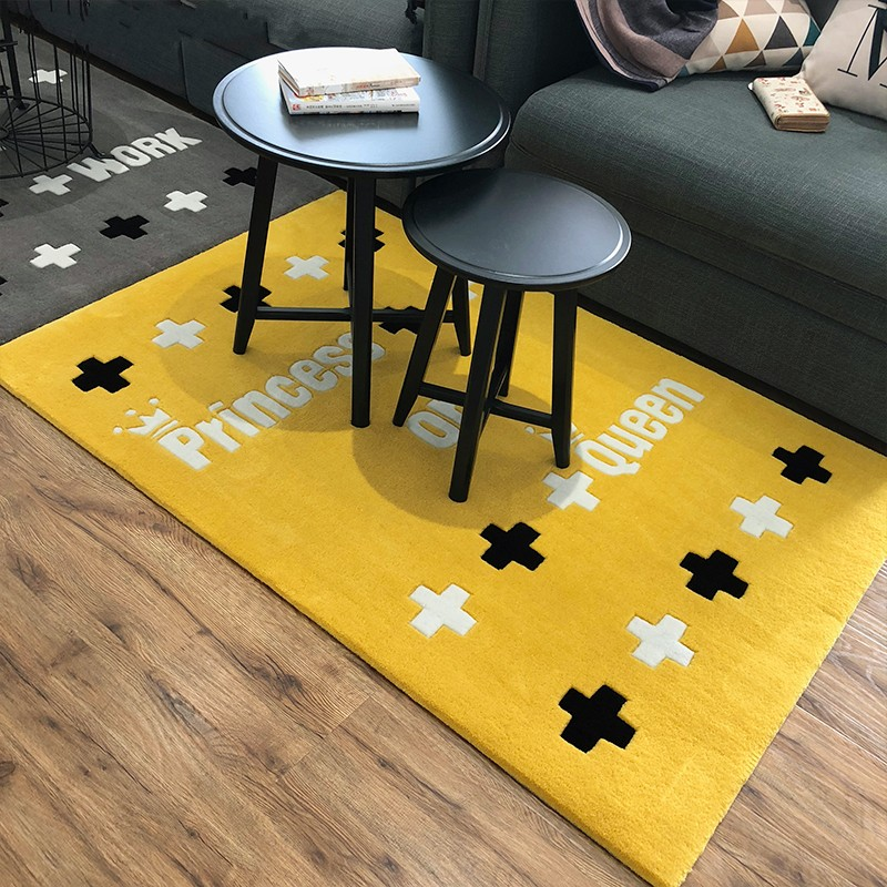 Handmade carved girls room decorative floor mat , 1.5cm thickness children playing rug, yellow color living room carpetHandmade carved girls room decorative floor mat , 1.5cm thickness children playing rug, yellow color living room carpet