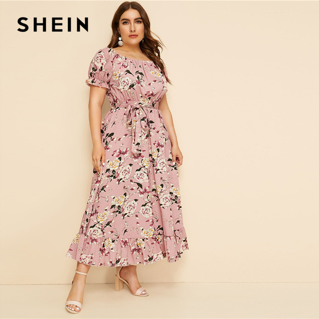 SHEIN Plus Size Pink Ruffle Hem Floral Print Belted Long Dress Women 2019 Summer Autumn Boat Neck High Waist A Line Boho Dresses 3