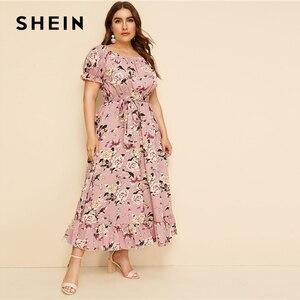 Image 4 - SHEIN Plus ขนาดสีชมพู Ruffle Hem พิมพ์ดอกไม้ Belted ชุดยาวผู้หญิง 2019 ฤดูร้อนฤดูใบไม้ร่วงเรือคอสูงเอวสายชุด Boho