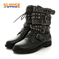 Winter Women Rivet Ankle Boots Platform Low Block Heel Round Toe PU Leather Lace Studed Belt Buckle Riding Motorcycle Short Boot