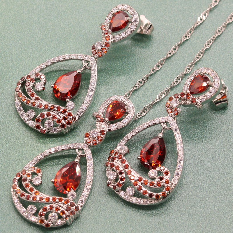 925 Sterling Silver Pomegranate Red Semi-precious Stone Jewelry Sets For Women Zircon Bridal Sets Choker Earrings Free Gift Box eiolzj white oval fire opal stone 925 sterling silver clip earrings for women bridal fashion jewelry free gift box three colors