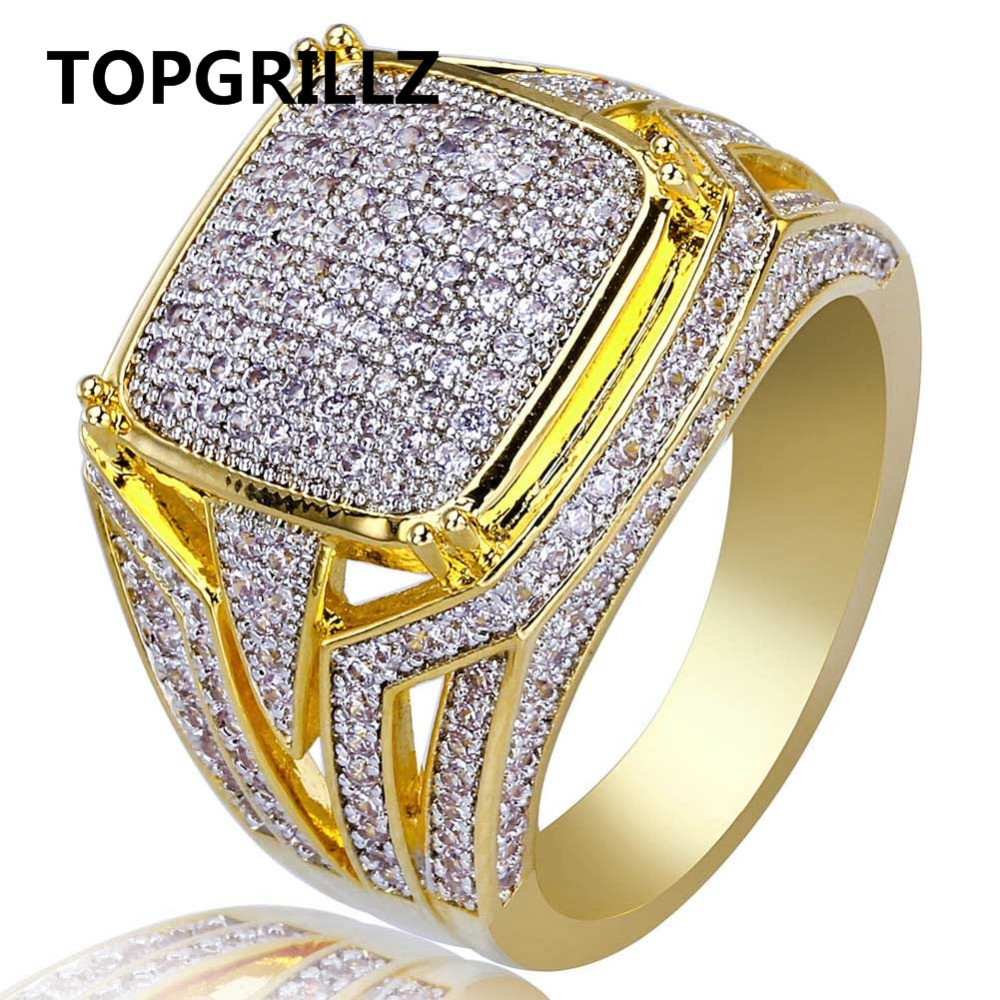 TOPGRILLZ Hip Hop Rock Men Jewelry Rings Copper Gold Color Plated 3A Micro Pave CZ Stone Square Ring With 7,8,9,10,11,12 SizesTOPGRILLZ Hip Hop Rock Men Jewelry Rings Copper Gold Color Plated 3A Micro Pave CZ Stone Square Ring With 7,8,9,10,11,12 Sizes