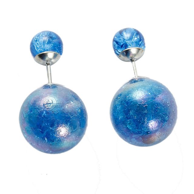 Doreen Box Acrylic Double Sided Ear Post Stud Earrings Ball Blue AB Color Crack Pattern 8mm Dia. 16mm Dia.,1 Pair