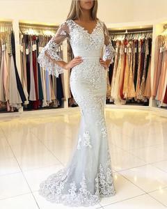 Image 3 - Vestidos de fiesta de noche Pink Muslim Mermaid Evening Dresses 2020 Lace applique Elegant Long платья знаменитостей