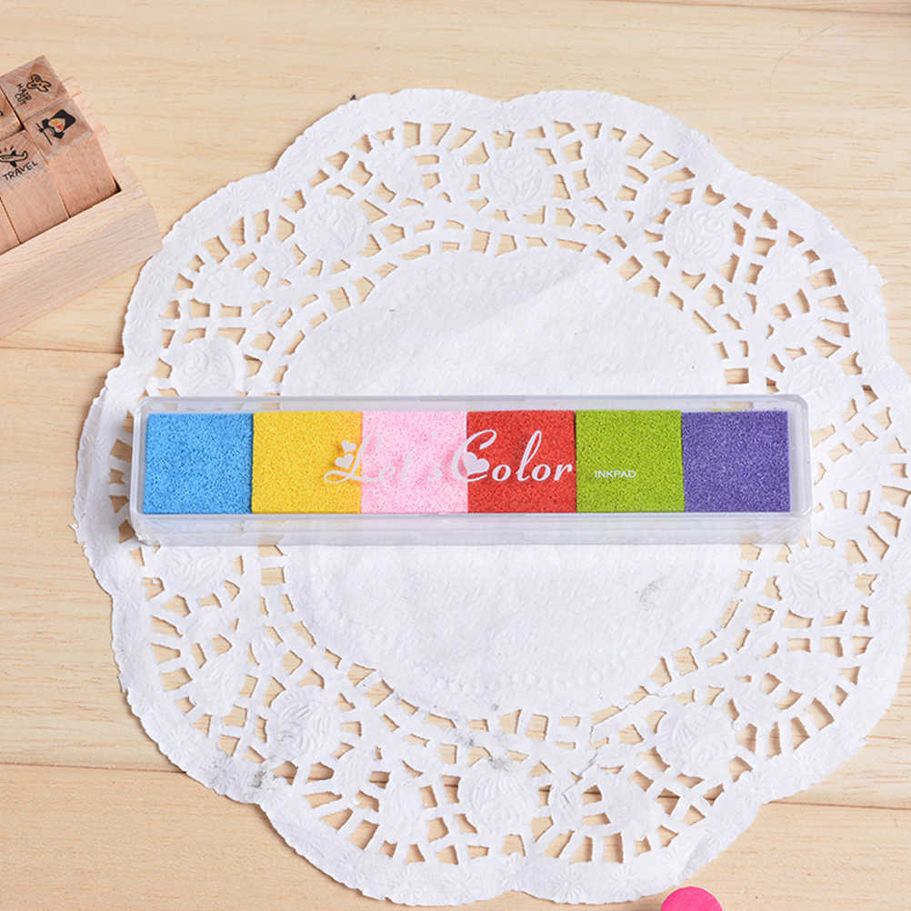 1 PACK 6 Colors Craft Card Stamp Fingerprint Accessories for Children Kids Rubber Stamps Paper DIY Wood Non-Toxic Ink Pad Inkpad