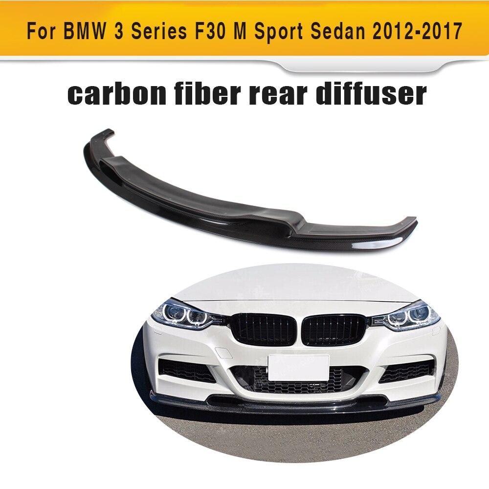 3 Series carbon fiber front lip bumper protector for BMW F30 M Sport Sedan 4 Door 2012-2016 320i 328i 335i 3D style Black FRP