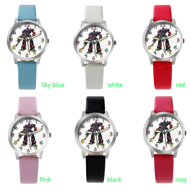Hot Sale Transformers Cartoon Watch Fashion Lovely Girl Children Watches PU Strap Quartz Wristwatch Kids Dress Clock