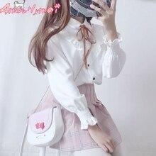 Lolita Shirt 2018 Spring Women Blouse Mori Girl Peter Pan Collar Bowknot Ruffles Long Sleeve White Shirt Japanese School Uniform