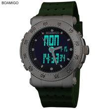 2016 Новый BOAMIGO марка 3 часовой пояс мужчины спорт армия военно-морской флот военно часы мужчины Кварцевые Аналоговые Цифровой СВЕТОДИОДНЫЙ резинкой наручные часы