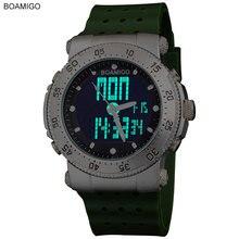 2016 Nueva marca BOAMIGO 3 zona horaria hombres del ejército deportes marino relojes militar hombres de Cuarzo Analógico LED Digital banda de goma relojes de pulsera