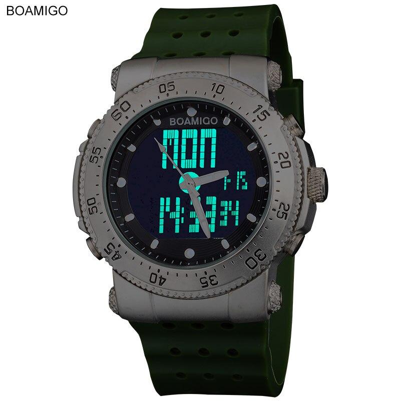 CHOQUE Nova marca BOAMIGO 3 esportes de fuso Horário homens da marinha do exército relógios militar homens Quartz Analógico Digital LED faixa de borracha relógios de pulso