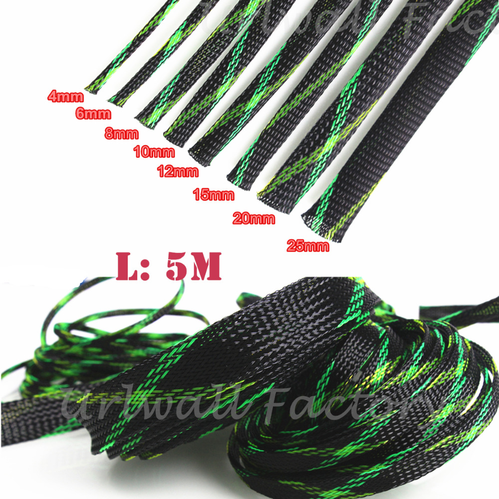 2/4/6/8/10/12/15/20/25mm Insulation Braided Sleeving Tight PET Expandable Cable Sleeves Wire Gland 5M/196inch Cables Protection