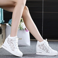 2016 Women Mesh Hollow Elevator Shoes Thick Soled Lace Shoes Woman Platform Wedges Loafers Creepers High Heels Zapatos Mujer