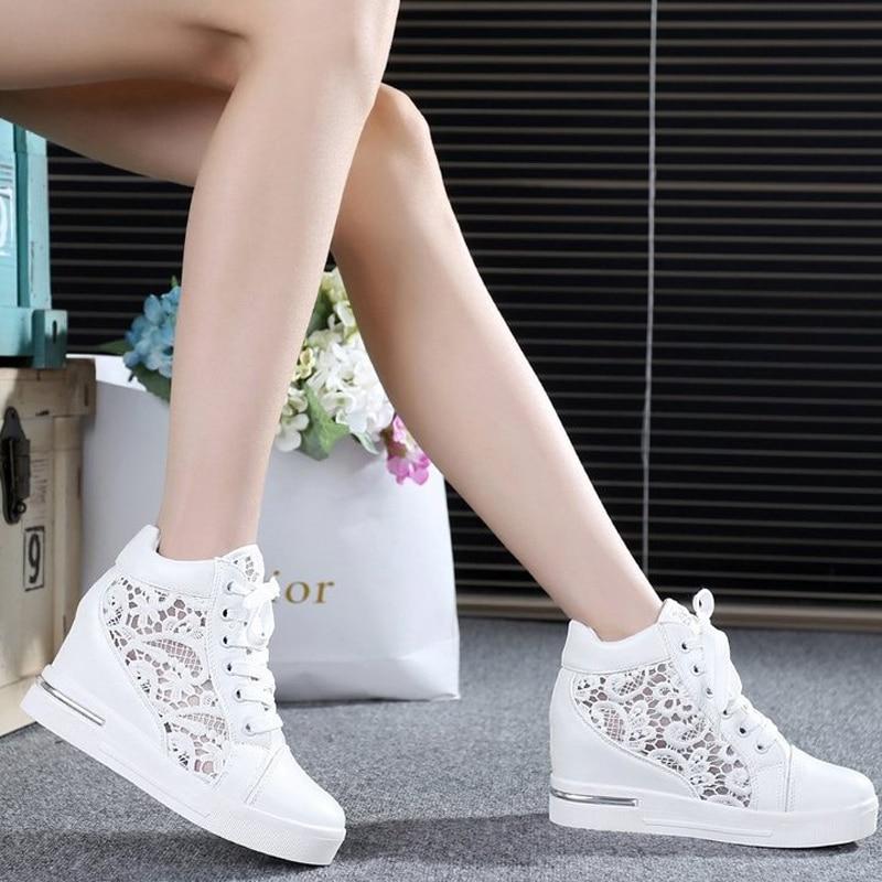 Loto Jolly 2017 Mujeres de Malla Hueco Zapatos de Suela Gruesa de Encaje Platafo