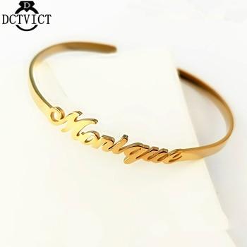 Custom Name Bangle Bracelet Women Men Jewelry Stainless Steel Hand Cuff Bangle Rose Gold Pulseiras Masculina Birthday Gifts BFF
