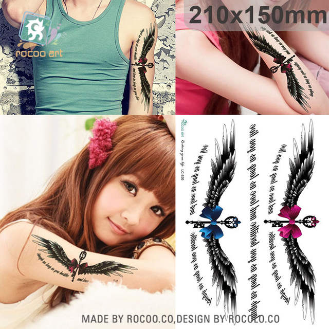 Online Shop Rocooart Angel Wings Tattoo Sticker Magic Wand Fake