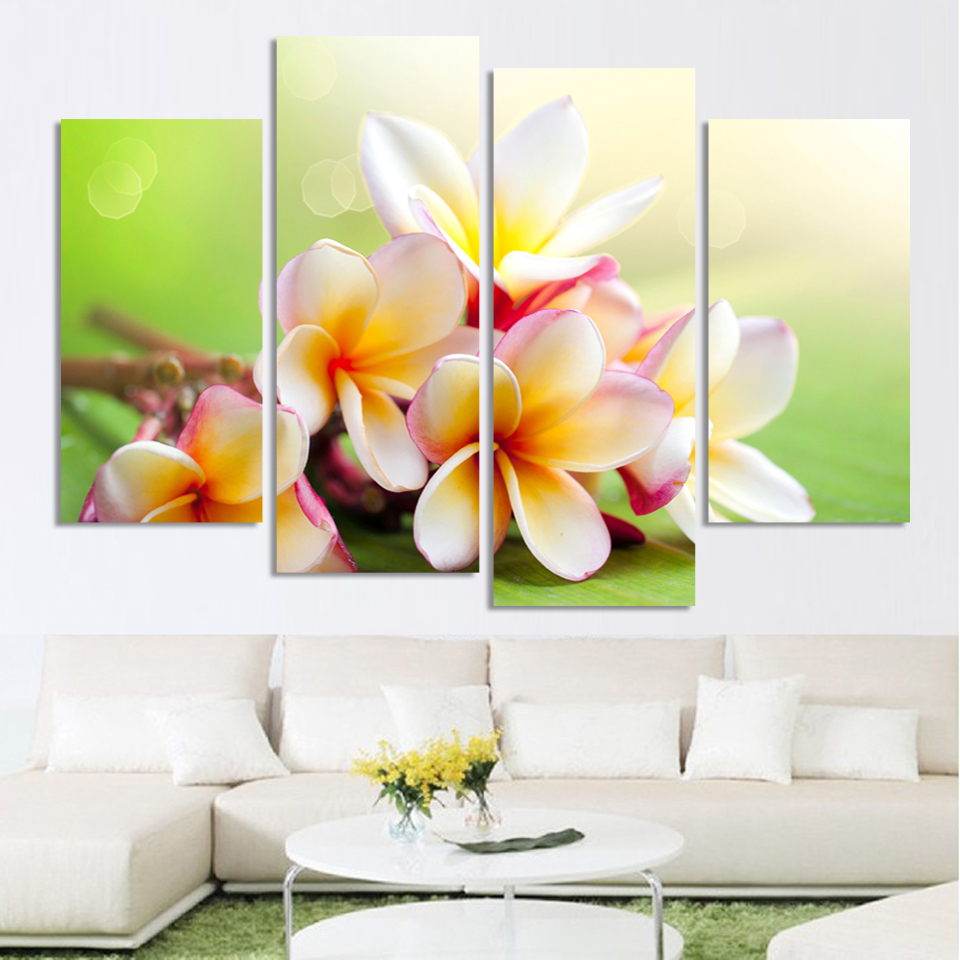 Wall art flower painting - Aliexpress Com Buy Modern Flower Paintings Canvas Art Prints 4 Piece Home Wall Decor Picture Sets For Living Room H159 From Reliable Picture Set Suppliers