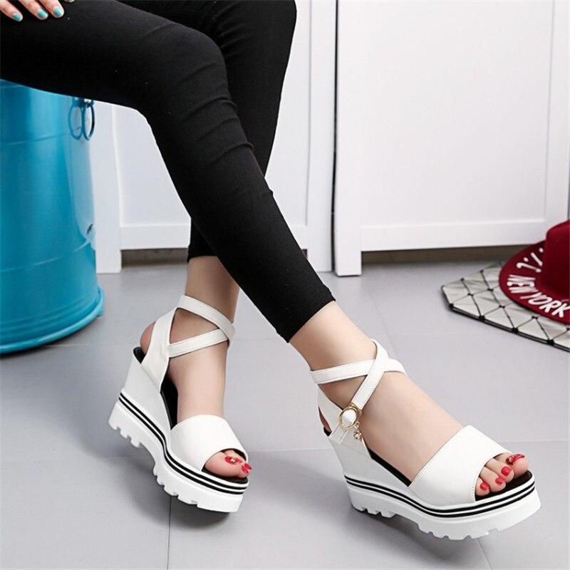 Women Sandals 2018 Platform Sandals Wedges Shoes For Women Heels Sandalias Mujer Summer Shoes Leather Wedge Heels Sandals