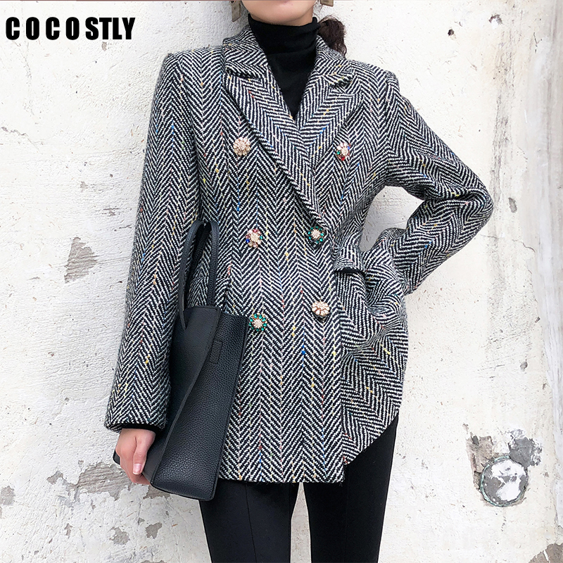 Women Checked Double Breasted Office Suit Jacket Designer Blazer Women Blazers And Jackets Pockets Work Wear Suit Outwear