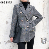 women checked double breasted office suit jacket designer blazer women blazers and jackets pockets work wear suit outwear