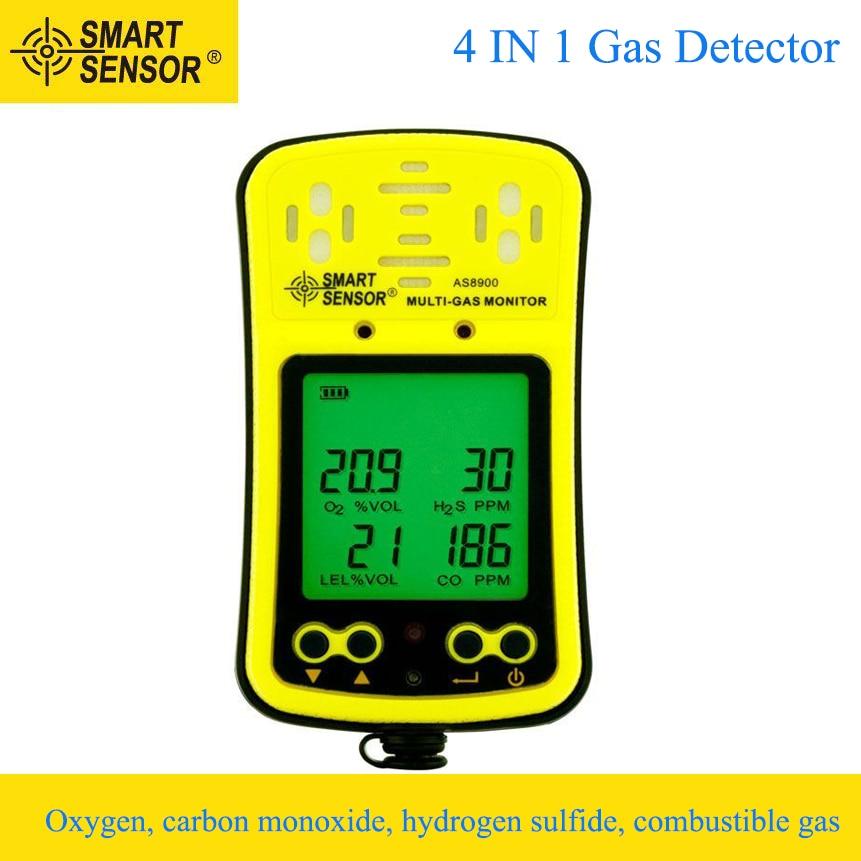 Gas Leak Detectors Independent Alarm Sensor 4 in 1 Oxygen/CO/Hydrogen Sulfide/Combustible Gas Analyzer Sound Light Vibration