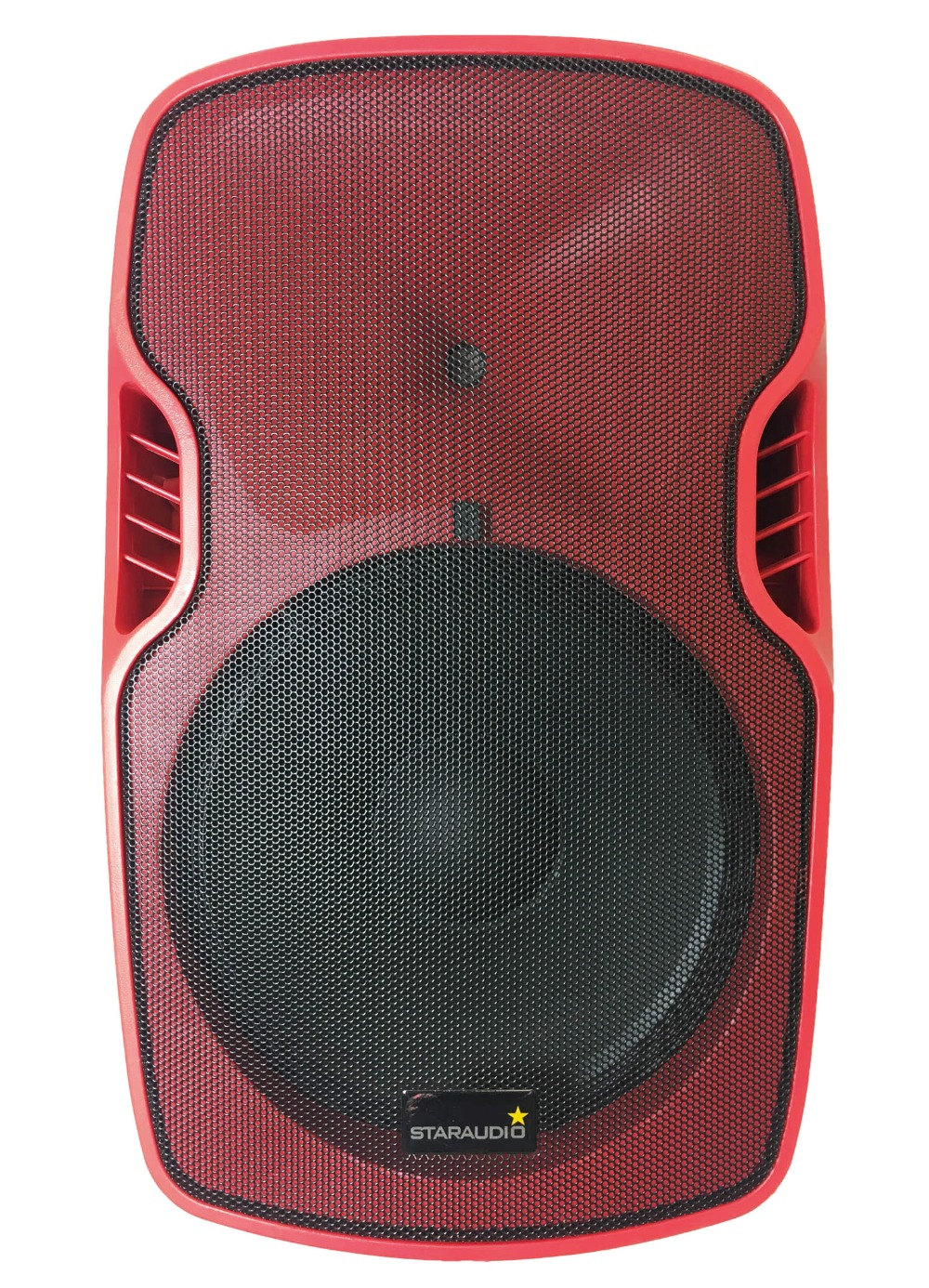 STARAUDIO Red 3500W 15 Powered Active Stage USB SD FM BT PA DJ Speaker with 2CH UHF Wireless Mics 1 Stand 1 Wired Mic SSRM-15