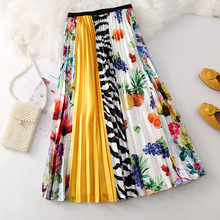 Cartoon Long Pleated Skirt Women Europen Style High Waist Sk
