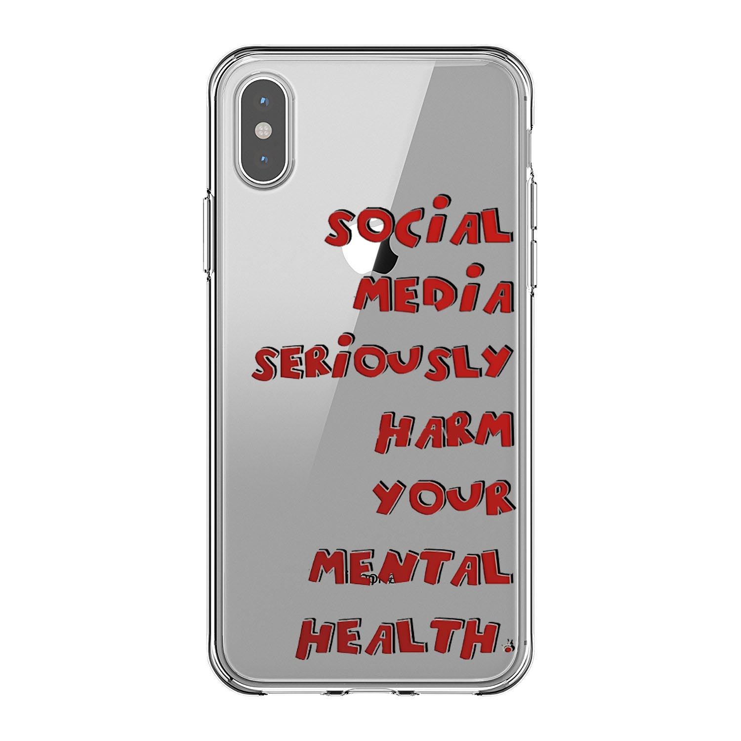 social media seriously harms your mental health soft Silicone clear cover phone case for iPhone XR XS Max 6 7 8 plus 5 5s 6s se in Half wrapped Cases from Cellphones Telecommunications