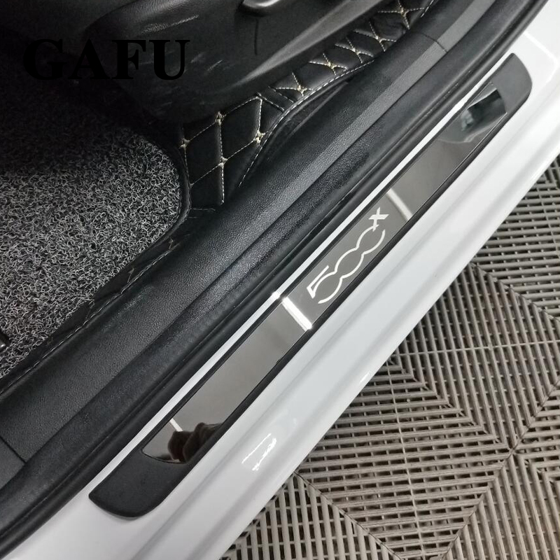 Car styling Stainless Steel Scuff Plate Door Sill Cover For FIAT 500X Car Accessories 4PCS|Chromium Styling| |  - title=