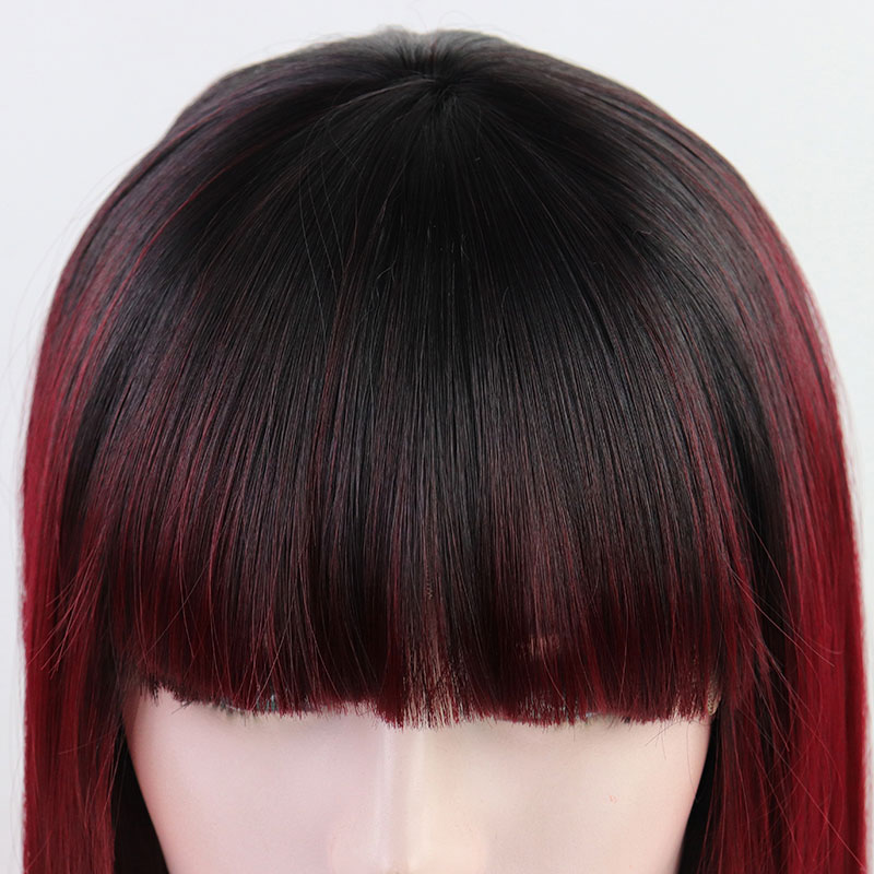 Bombshell Dark Roots Ombre Wine Red Short Straight Bob Synthetic Lace Front Wig Heat Resistant With