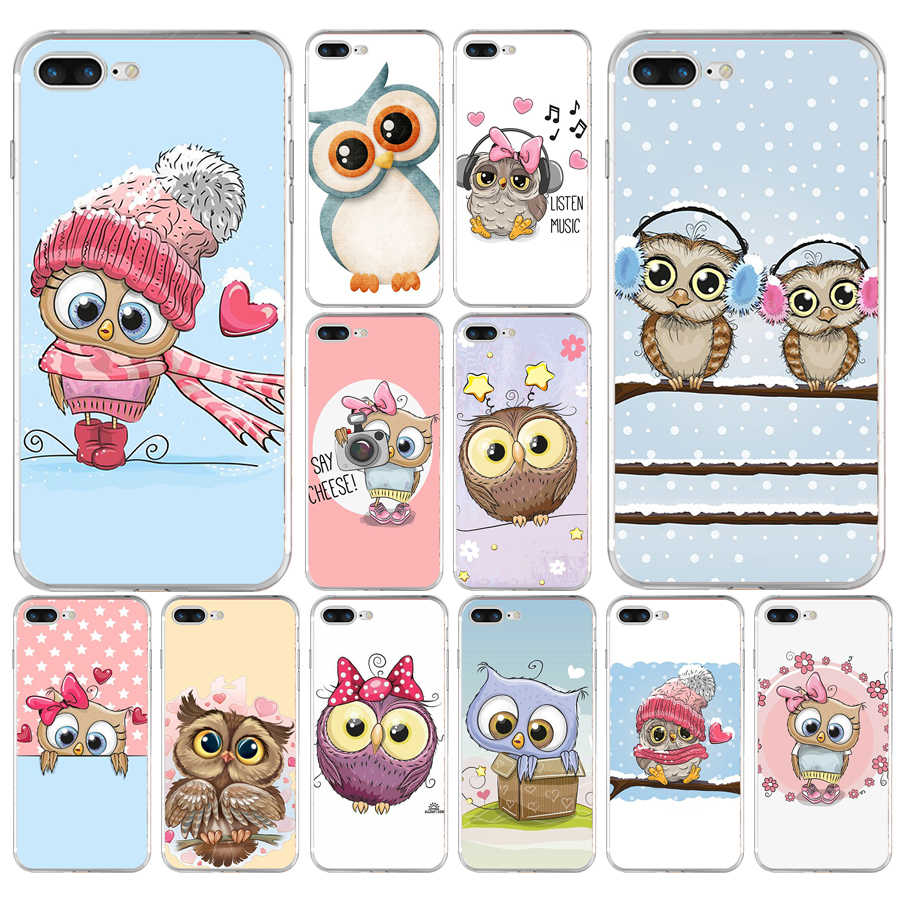 172H Cute Owl Hearts Lover Christmas Soft TPU Silicone Cover Case For Apple iPhone  6 6s 7 8 plus Case