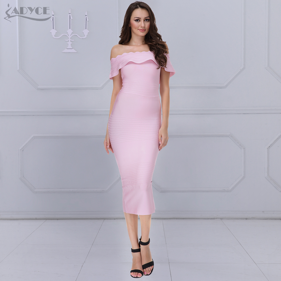 ADYCE 2018 New Pink Off The Shoulder Strapless Bandage Dress Red Bodycon Elegant Luxury Noble Party Dress Women Bodycon Dress