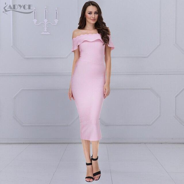 572837377 ADYCE 2019 جديد الصيف الوردي ضمادة فساتين النساء مثير قبالة الكتف حمالة  الأحمر Bodycon أنيقة فاخرة