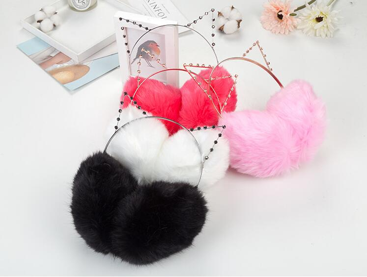 50x Women Plush Fur Cute Cat Earmuffs Winter Warm Girl Solid Ear Covered 2 In 1 Cats Hairbands Rhinestone Ear Muffs