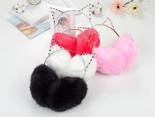 50x Women Plush Fur Cute Cat Earmuffs Winter Warm Girl Solid Ear Covered 2 in 1 Cats Hairbands Rhinestone Muffs