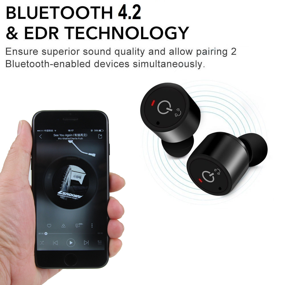 Twins True Wireless Earphone in ear CSR 4.2 Sport Stereo Bluetooth Headset With Voice Prompt True Wireless Earbuds