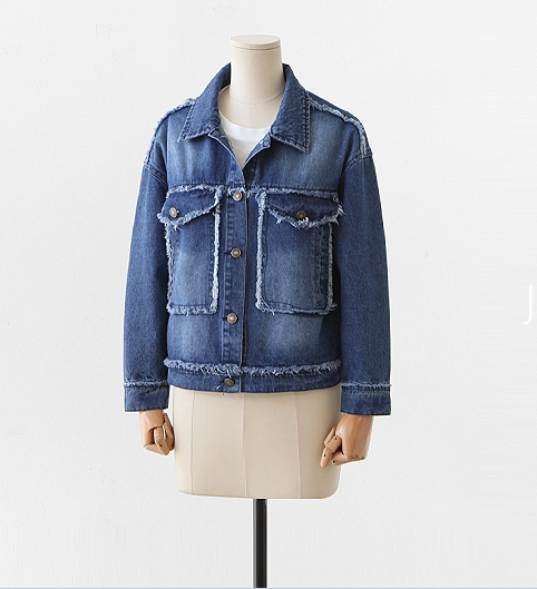 Fit Veste Style Slim Court Bleu Conception Poche Deux 5xl Surdimensionné Street Denim En 2018 Jean High L Grande Fashion Manteau Automne Hiver xwBqYY